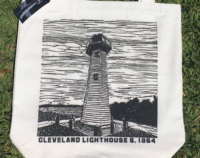 Cleveland Lighthouse Linocut design Tote Bag