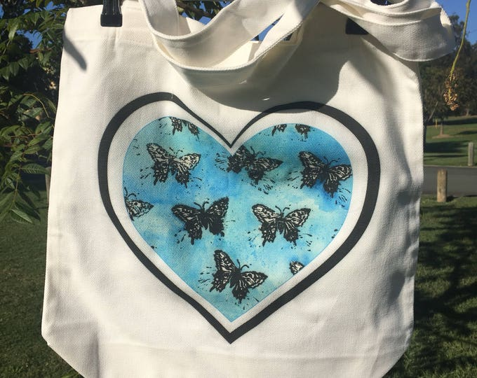 Blue Butterfly Heart Tote
