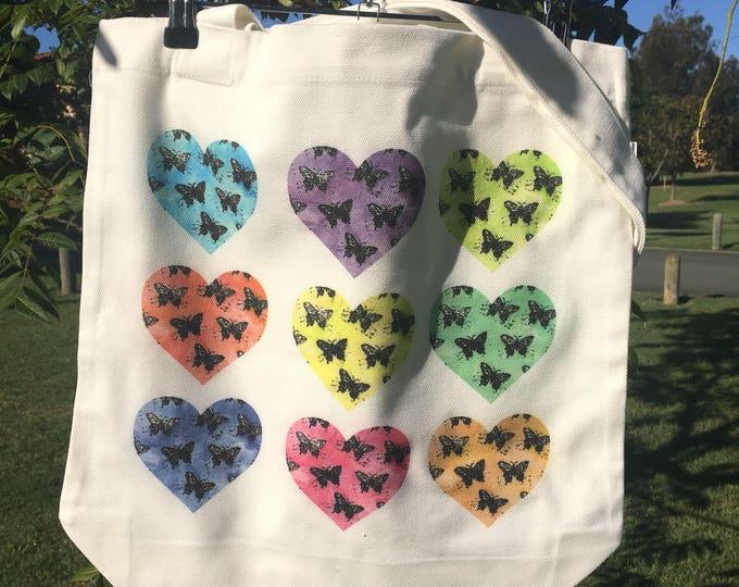 Nine Rainbow Butterfly Hearts
