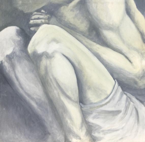 2c4512548c8 Sad Boy Crouching Man in monochromatic colours Black and   Etsy