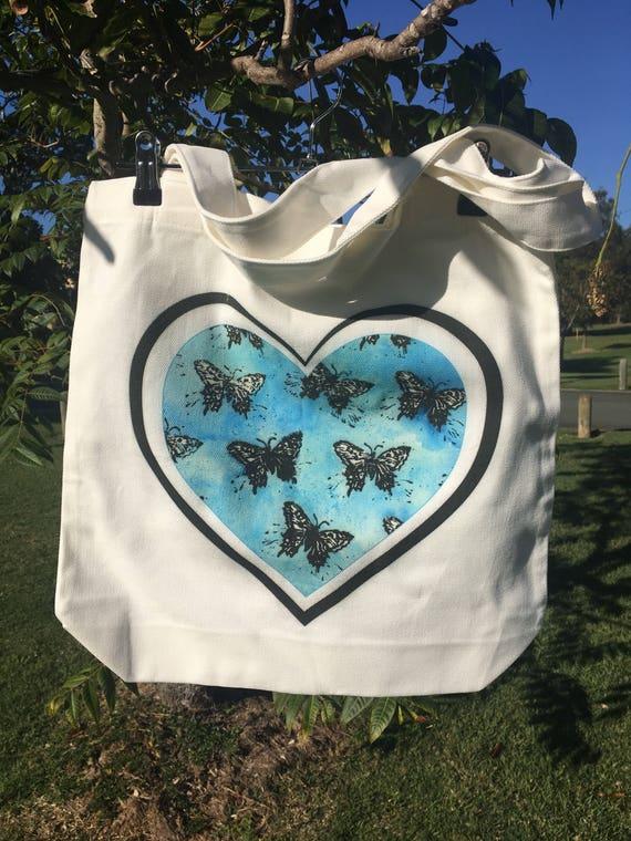 8778ba95251 Blue Butterfly Heart Tote   Etsy