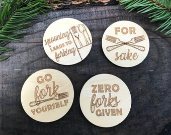 Wooden Magnets - Fork Puns