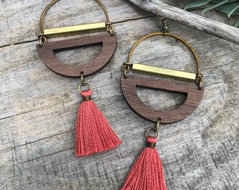 Wood Earrings - Mixed Media Love