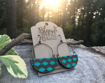 Wooden Earrings - Geo Chevron
