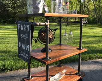 Local Pickup Only | Industrial Bar Cart | Cast Iron Pipe Bar Cart