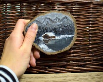 Mini Masterpiece, Tiny Cabin Acrylic Painting