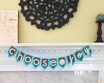 Choose Joy Bunting Banner Mantle Decor Housewarming Gift