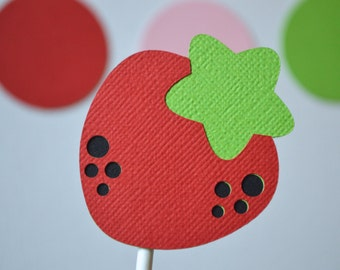 Strawberry Cupcake Toppers Red By The Dozen 12