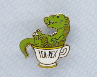 Tea Rex Hard Enamel Pin, Funny Dinosaur Pun Metal Pin