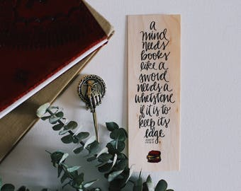 A Mind Needs a Book / The Imp's Quote / Wood Bookmark / Free US Shipping