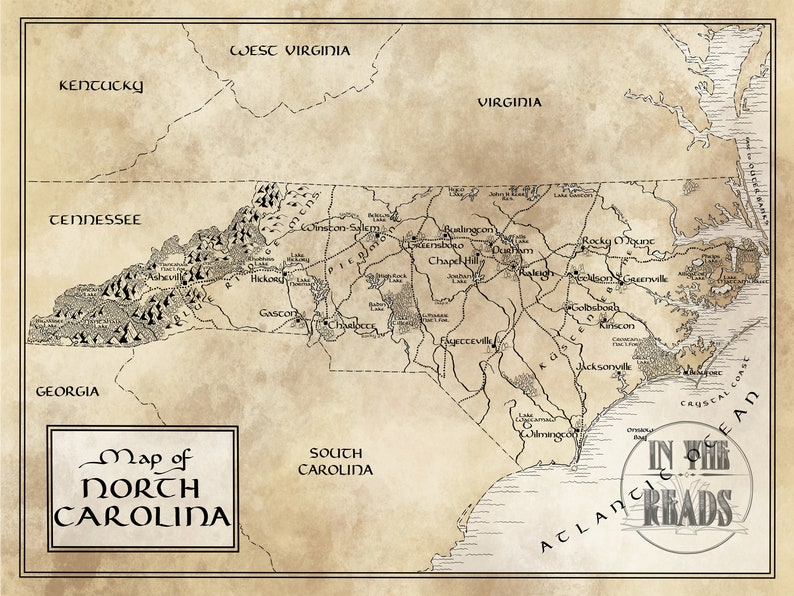 North Carolina Map Tolkien Inspired Free Us Shipping Etsy - North-carolina-map-of-us