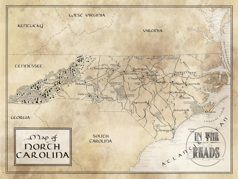 North Carolina Map Tolkien Inspired Free Us Shipping Etsy - Free-us-maps-by-mail