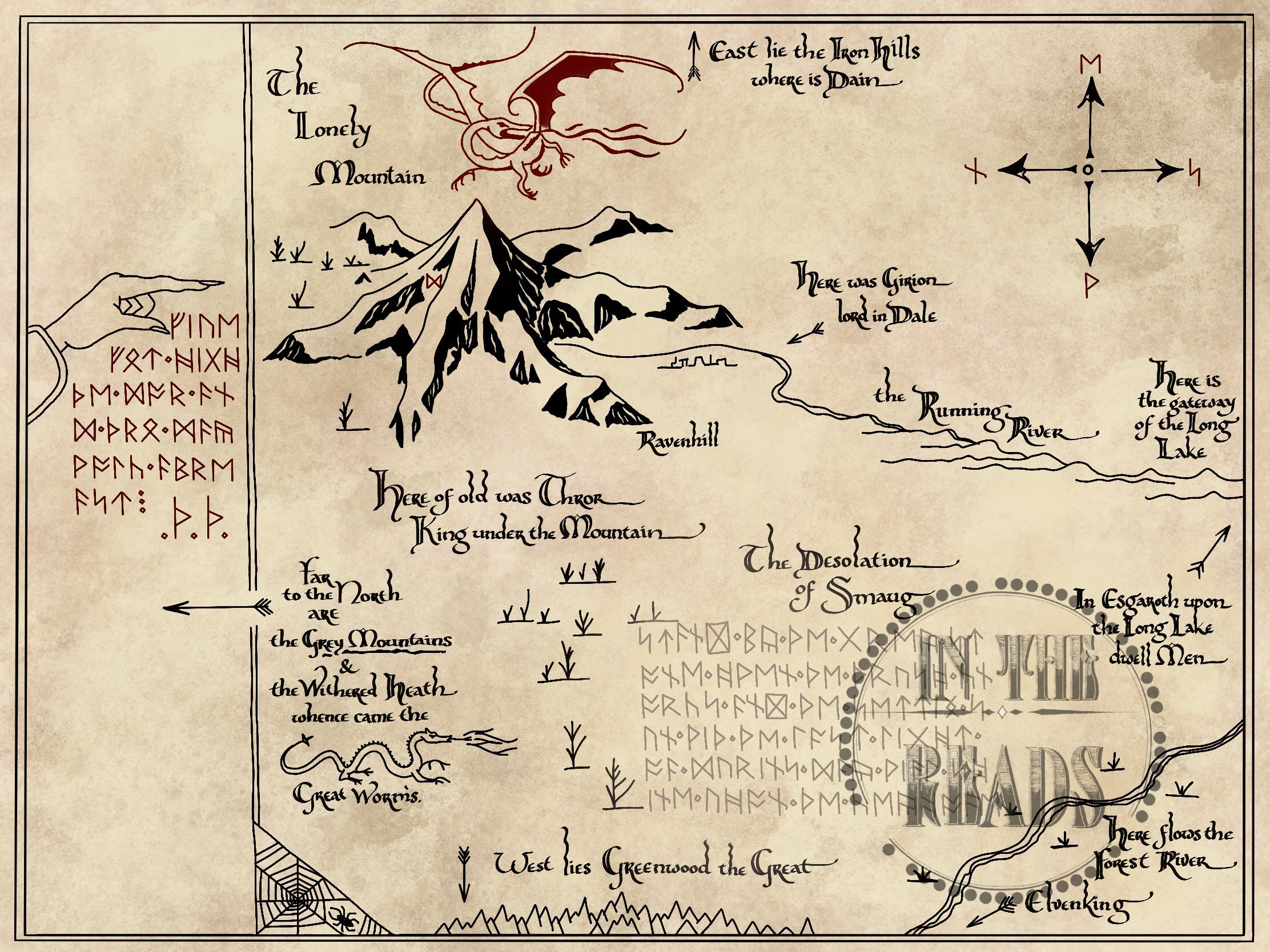 Thorins Map The Lonely Mountain Free Us Shipping Etsy