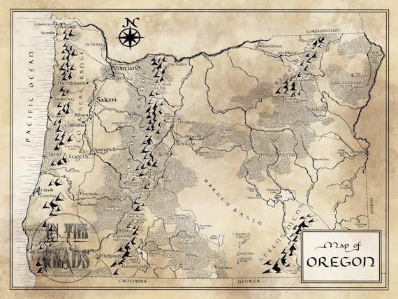 Oregon Map / Tolkien Inspired / Free US Shipping on us map portland oregon, state map of oregon, us map wisconsin, us map california, atlas of oregon, travel map oregon, us map idaho, rand mcnally map of oregon, us map washington, county map of oregon, us map missouri, map of aloha oregon,