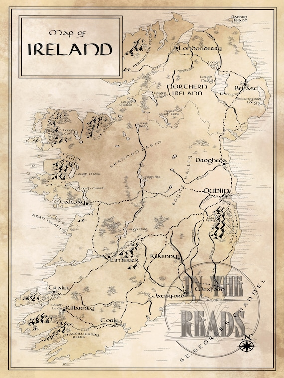 Ireland Map / Tolkien Inspired / Free US shipping