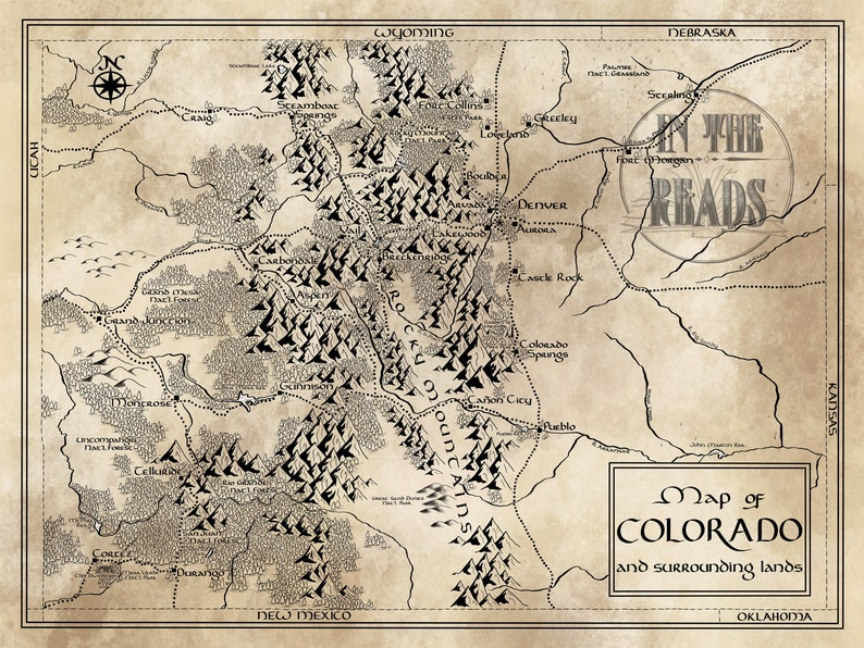 Colorado Map Tolkien Inspired Free Us Shipping Etsy - Free-us-maps-by-mail