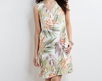 380763d385d NWT J Jill Printed Ivory Linen V-neck Tank dress Tiger Lily Jungle Size PXL