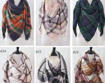 BLANKET SCARF SQUARE OVERSIZED ALL SEASON LIGHT WRAP SCARF PLAID C COLOR WHITE