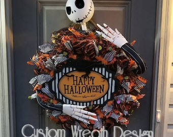 "Nightmare Before Christmas, Jack Skellington, Halloween wreath, 24""."