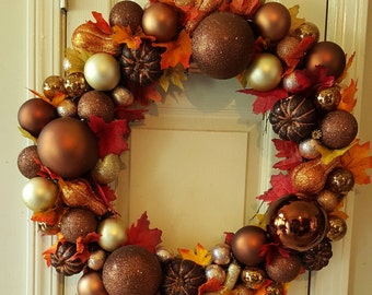Fall Ornament Wreath. Beautiful  fall colors. Ornament  balls, pumpkins and gourds.