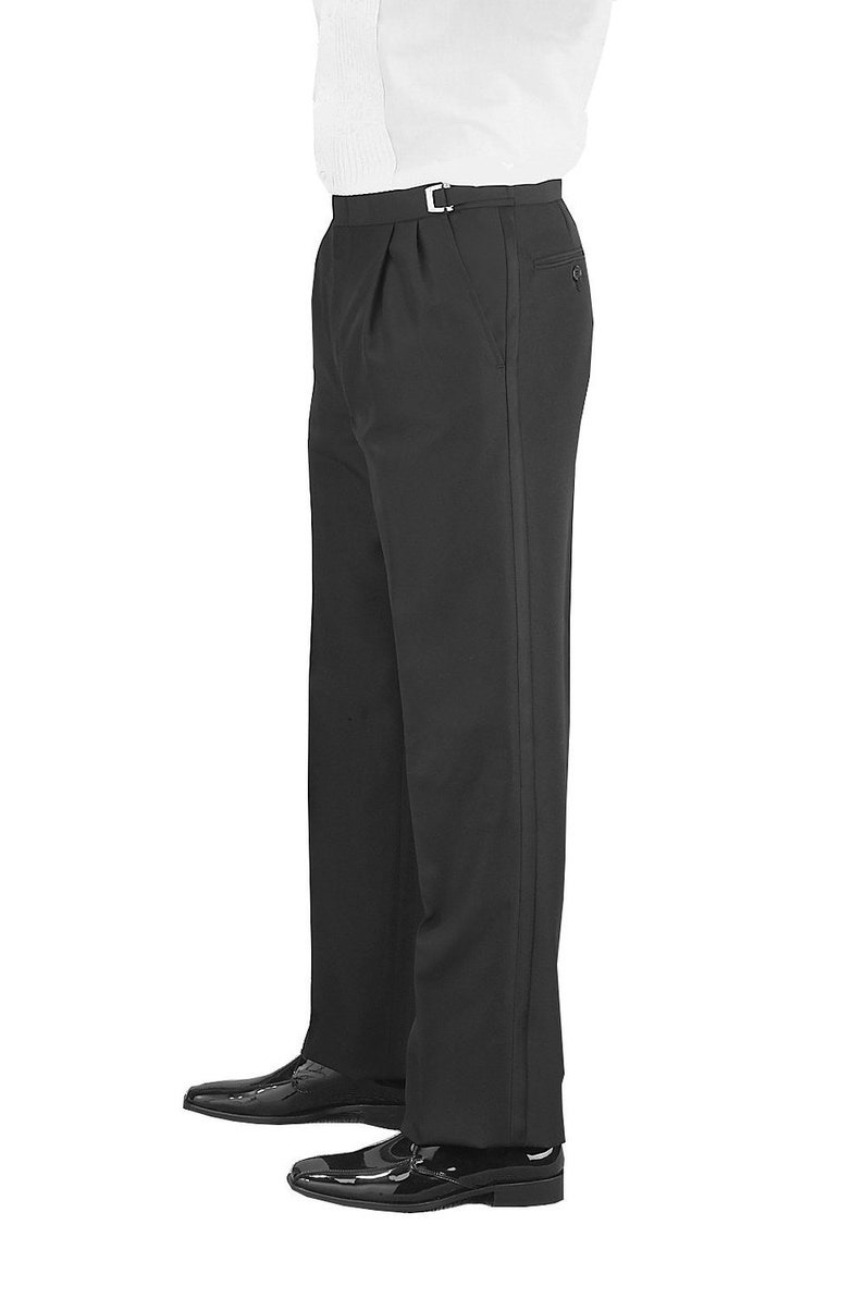 Men/'s Black 100/% Wool Pleated Tuxedo pants adjustable waist size 39-40-41/""