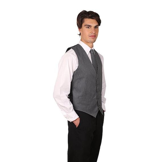 SixStarUniforms Pinstripe Blue Dress Vest for Men