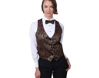 Women's Bronze Artistic Swirl Pattern Vest