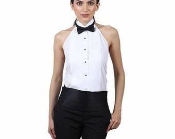 Women's White Tuxedo Halter Shirt