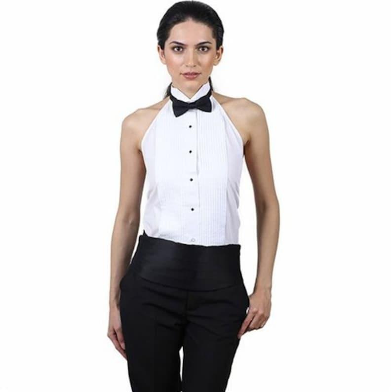 1275aadf71be2c Women's White Tuxedo Halter Shirt | Etsy