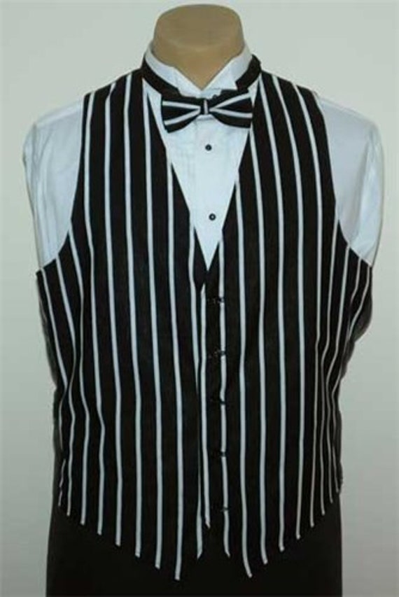 Men's Black & White Striped Cotton Pattern Vest yoeolTLL