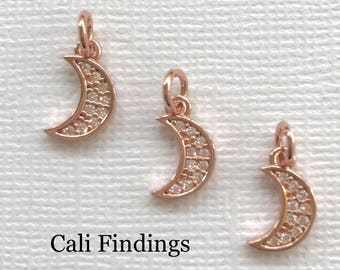 Half moon charm pendant Crescent Moon Rose Gold Tusk Charm Crescent Moon Charm Pendant- Choose Sterling Silver Moon Charm 365 Gold