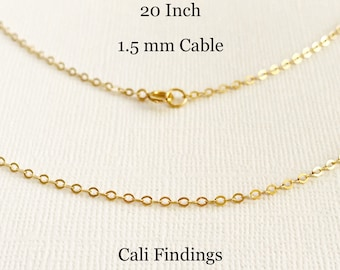 "20""- 14K Gold Fill 1.5mm Cable Chain, Finished Flat Cable Chain Necklace, 20 Inch Chain, 20 Inch Gold Filled Necklace [4095]"