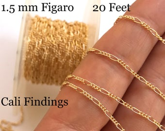 14K Gold Filled Figaro 20 FEET, 3:1 Figaro Chain, Polished Shiny, Soldered Links, Dainty Strong Chain, Wholesale Bulk Gold Fill Chain [4139]