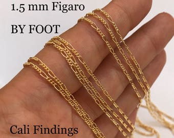 14K Gold Filled Figaro BY FOOT, 3:1 Figaro Chain, Polished Shiny, Soldered Links, Dainty Strong Chain, Wholesale, Bulk Gold Fill Chain