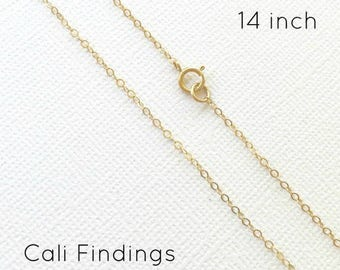 """14""""- 14K Gold Fill Chain, Finished Flat Cable Chain Necklace 1.3mm, 14 Inch Gold Fill chain, 14 Inch Gold Necklace, 14 Inch Chain [4103]"""