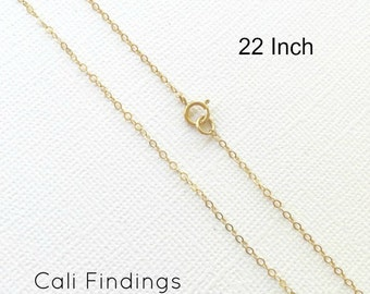 """14K Gold Fill 22"""" Chain, Finished Flat Cable Chain Necklace 1.3mm, 1Pc, Gold Fill chain, Finished Necklaces, Gold Chain, 22 inch [4007]"""