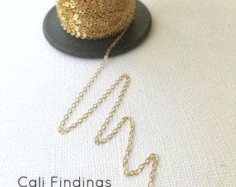 14K Gold Fill 1.5mm x 2mm Flat Cable Chain, (1020F) Choose Any Length with Bulk Discounts, Sparkling Chain for DIY Jewelry, Made in USA