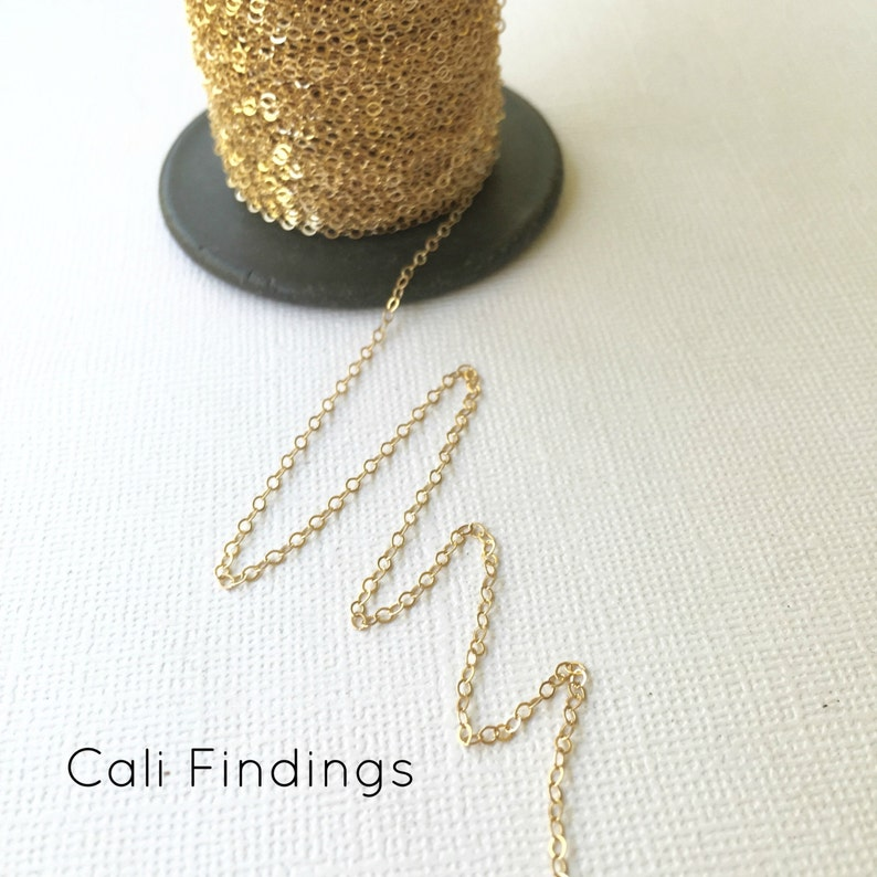 14K Gold Fill 1.5mm x 2mm Flat Cable Chain 1020F Choose Any image 0