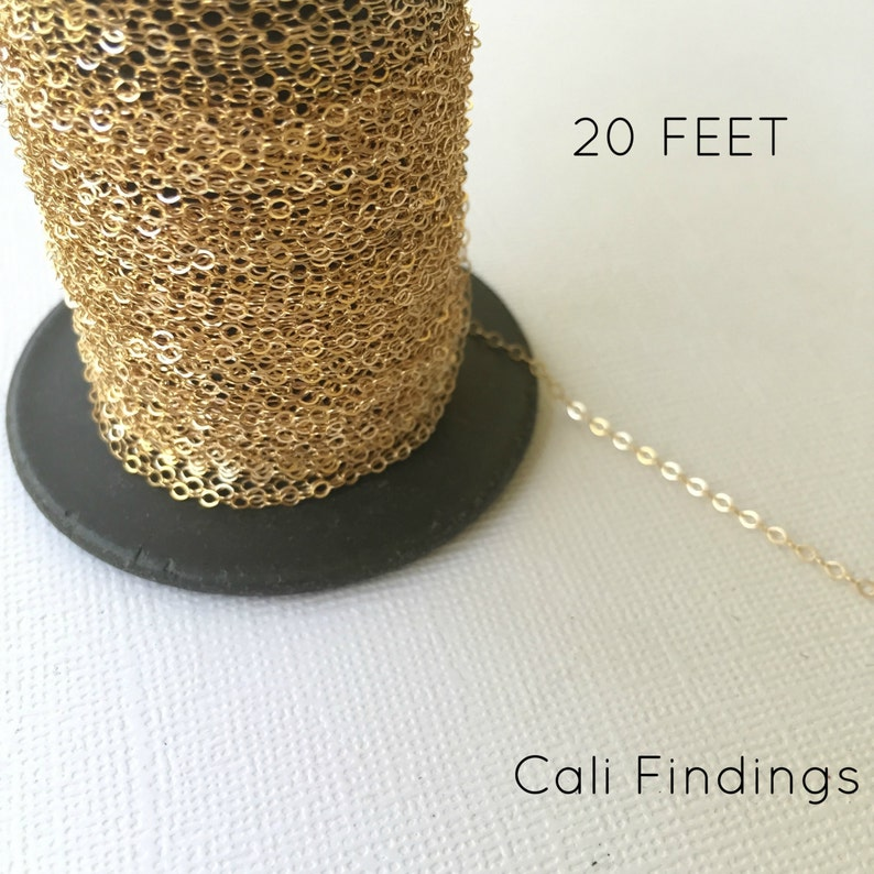 14K Gold Fill 1.5mm x 2mm Flat Cable Chain 1020F 20 Foot image 0