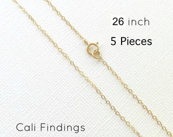 """5 Pieces- 26"""" 14K Gold Fill Chain, Finished Flat Cable Chain Necklace 1.3mm, Gold Fill chain, Finished Necklaces, 26 Inch Gold Chain [4062]"""