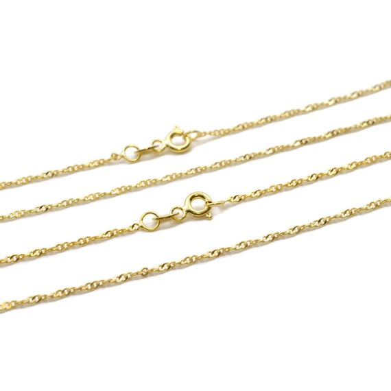 18k gold over 925 Sterling Silver Chain Diamond Cut Rope 1.4mm 18inch chain 18inch vermeil diamond cut chain Vermeil