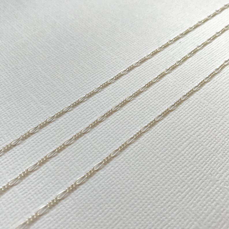 Sterling Silver Figaro 20 FEET 4145 3:1 Figaro Chain Bulk Sterling Chain Wholesale Dainty Strong Chain Soldered Links Polished Shiny