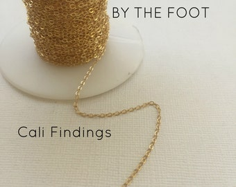 1.5mm 14K Gold Filled Flat Cable Chain- BY FOOT, Flat Cable Chain 1.5mm - Gold Filled Chain, Bulk Gold Chain, Gold Filled Cable, Gold Chain
