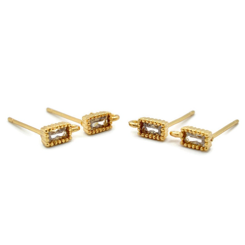 18K Gold Plated Rectangle Cz Earring Studs 1 Pair 1244 Cubic Zirconia Finding Posts with Bail for DIY Earrings USA SELLER