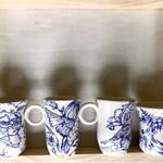 Reserved For Samantha: Handpainted Blue Floral and Birds Handmade Porcelain Mug Set