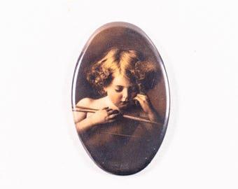 Vintage Cherub Pocket Hand Mirror