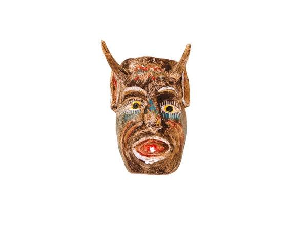 Folk Art Carved Brown Devil Mask