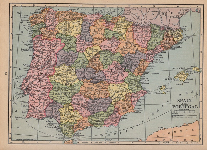 Map Of Spain Portugal And Italy.Atlas Map Of Spain Portugal And Italy 1935 Vintage