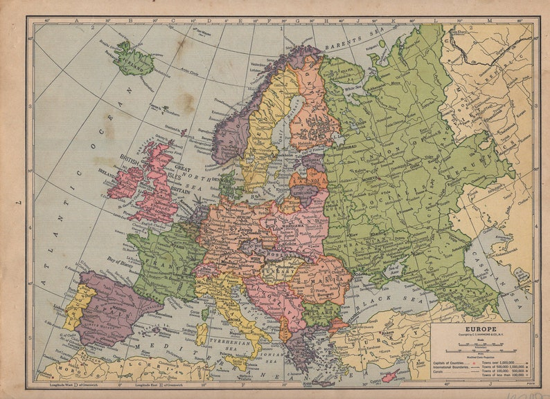 Vintage 1935 Atlas Map Of Europe England And Wales Etsy