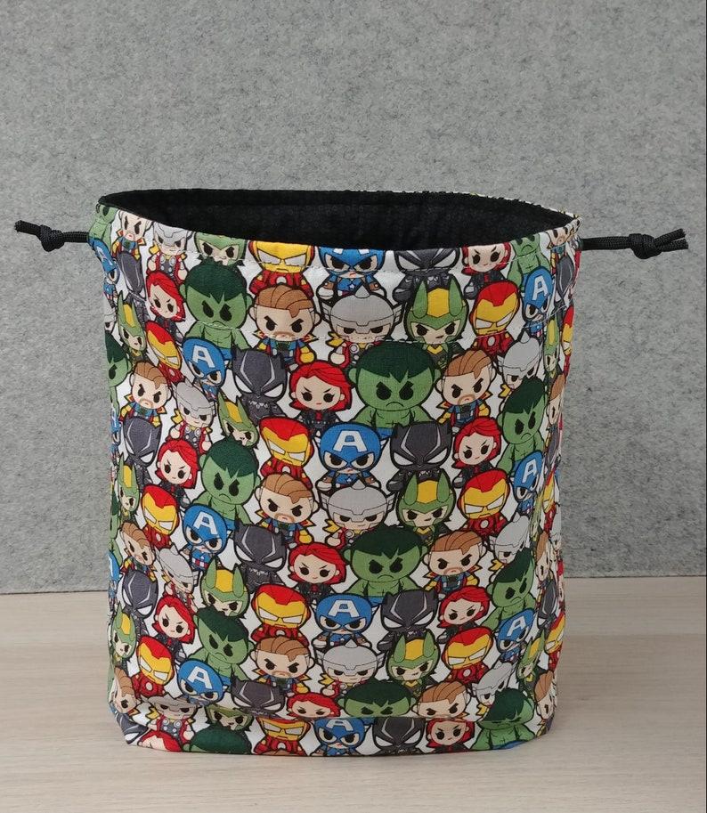 Cross Stitch Bag \u2013 Bingo \u2013 Disney Marvel Drawstring Bag \u2013 Project Bag Knitting Bag \u2013 Crochet Bag Handmade- Toy Sack Hulk Thor